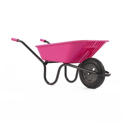 Picture of Pink 90Ltr Poly Wheel Barrow Pneumatic Tyre