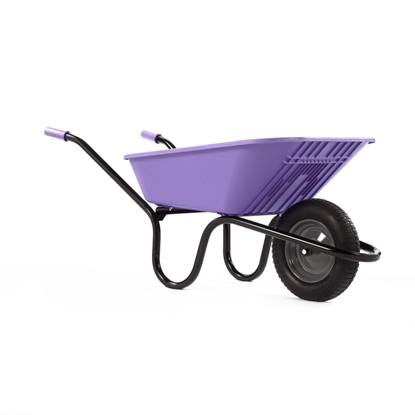 Picture of Lilac 90Ltr Poly Wheel Barrow Pneumatic Tyre
