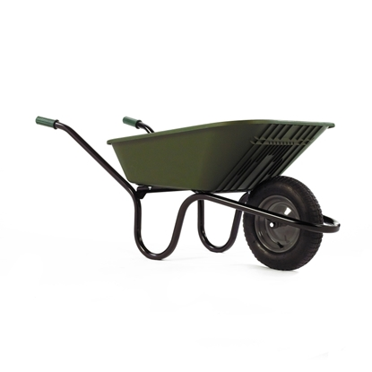 Picture of Green 90Ltr Poly Wheel Barrow Pneumatic Tyre